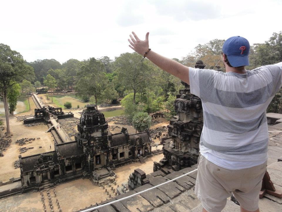 High above the ruins of Angkor Wat.