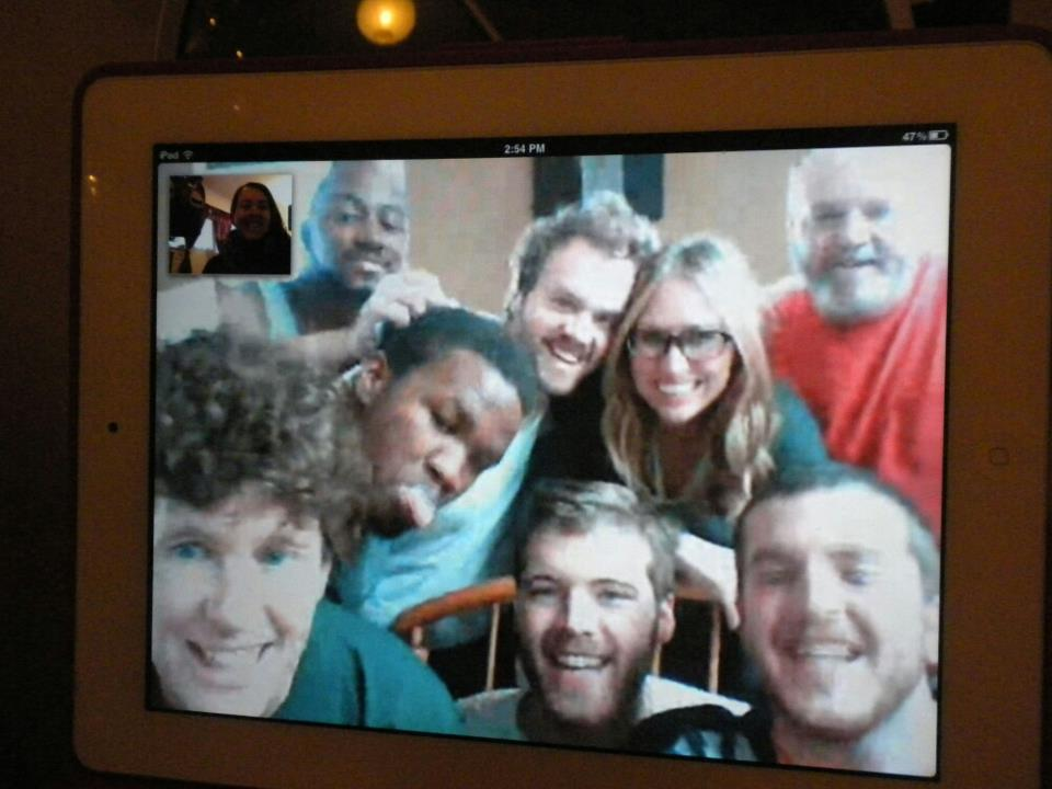 For the first time in 3 years, Heather and I find ourselves on the side of the Skype call WITH the family!