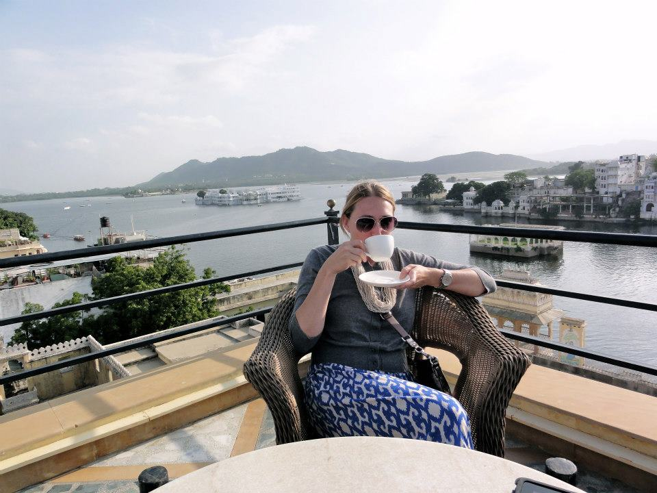 Escaping to the rooftop of the Tiger Hotel to sip tea and gaze upon Udaipur.