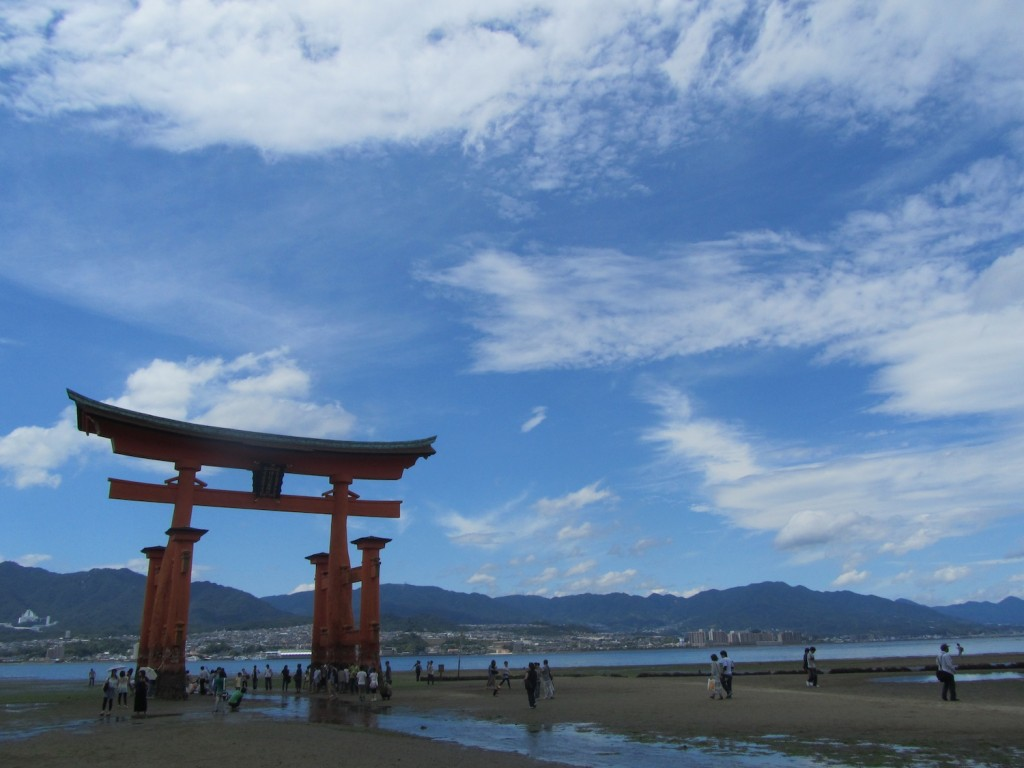 Itsukushima Shrine, the world famous tori gate in Miyajima, about half an hour from Hiroshima.