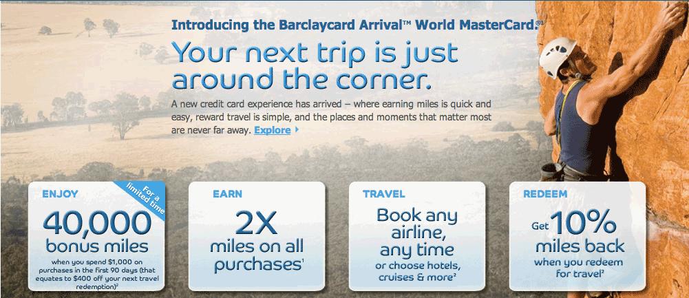 Barclays Arrival Card