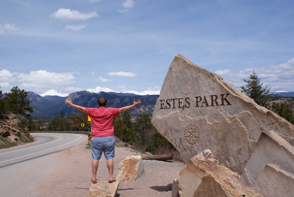 EPoP'ing in front of the entrance to Rocky Mountain National Park