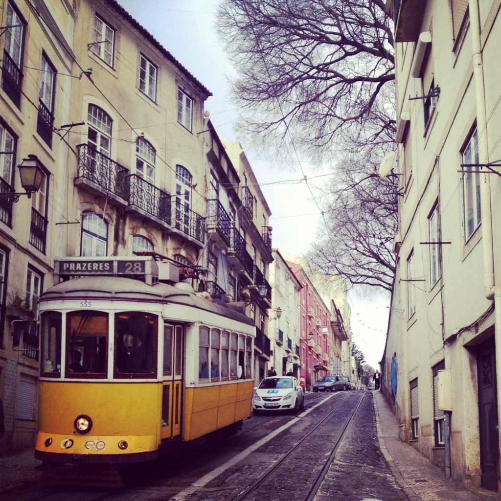 The famous cable cars of Lisbon.